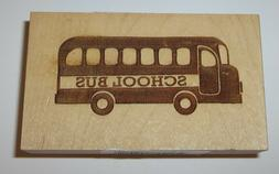 """School Bus Rubber Stamp New Clearsnap Wood Mounted 1 3/4"""" Hi"""