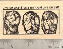 see no evil ferret rubber stamp k50010