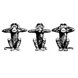 SEE NO, SPEAK NO, HEAR NO EVIL monkeys unmounted rubber stam