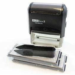 ExcelMark Self-Inking Do It Yourself Stamp Kit Black Ink Cus
