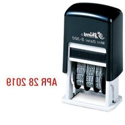 Shiny Self-Inking Rubber Date Stamp - S-300 - RED INK