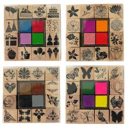 Set Of 12 Wooden Rubber Stamps & 4 Colour Ink Pads Assorted