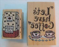 Set of 2 Vintage Hero Arts COFFEE THEME Wood Mounted Rubber