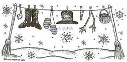snowman clothesline winter wood mounted rubber stamp