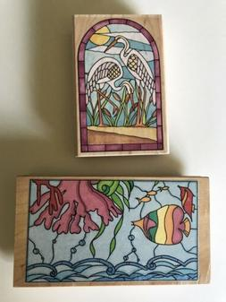rubber stampede stained glass cranes A1239f & stamps in moti