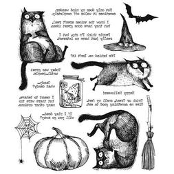 """Tim Holtz Stampers Anonymous """"SNARKY CAT HALLOWEEN"""" Rubber C"""