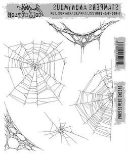 """Tim Holtz Stampers Anonymous """"TANGLED WEBS"""" Halloween Rubber"""