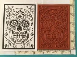 SUGAR SKULL Day of the Dead Red Rubber Stamp U pick Size/Mou