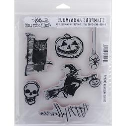 Tim Holtz Cling Rubber Stamp Set 7X8.5-Carved Halloween