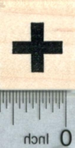 Tiny Cross Rubber Stamp, Medical Symbol, 1/2 inch, Calendar