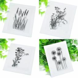 Transparent Silicone Flower & Grass Clear Rubber Stamp Sheet