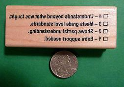 Understands 4321 Rubric - Teacher's Wood Mounted Rubber Stam