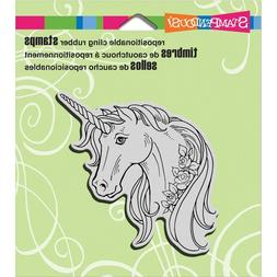 Unicorn with Roses Cling Rubber Stamp by Laurel Birch Stampe