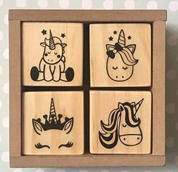 Unicorn Wooden Rubber Stamp Set Deluxe. 4 pcs. Perfect Gift