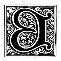 Unmounted Classic Ornate Alphabet Rubber Stamp Set - block d