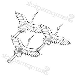Unmounted Oriental Cranes Rubber Stamp bird japanese japan a