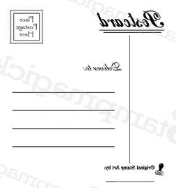 Unmounted Postcard Back Rubber Stamp postal faux postage mai