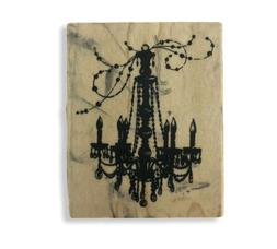Used Inkadinkado Chandelier Wood Mounted Rubber Stamp Paper