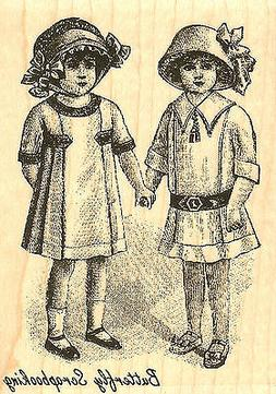Victorian Girls Wood Mounted Rubber Stamp Impression Obsessi