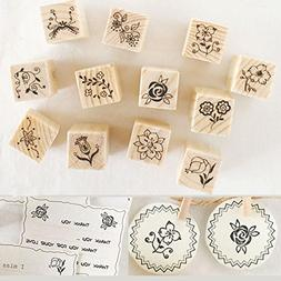 Shopline 12 Pieces Vintage Stamps, Wooden Rubber Stamps with