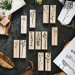 Vintage Plant Stamp Wooden Rubber Stamps Scrapbooking Diary