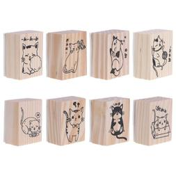 Vintage Raw Wood Rubber Stamp Cartoon Animals Cat Scrapbook