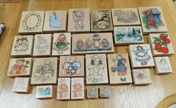 Vintage Wood Mount Rubber Stamps~PSX/Hero Arts/Rubber Stampe