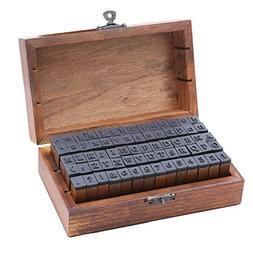 DECORA 70 Pieces Vintage Wooden Rubber Alphabet Letters Numb