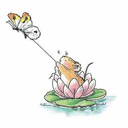 Water Lily Skiing Mouse, Wood Mounted Rubber Stamp PENNY BLA