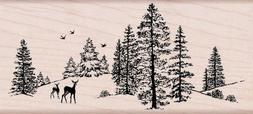 Hero Arts Rubber Stamps Winter Scene Woodblock Stamp
