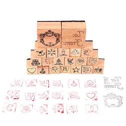 Winter Stamps Set,Luckybird Wooden Stamps for kids for DIY S
