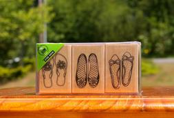 Women's Shoes Flip Flops Slip On 3 Wood Mounted Rubber Stamp