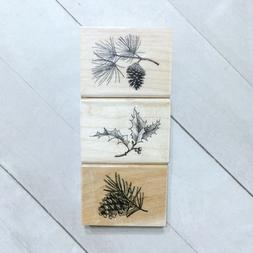 Inkadinkado Wood Block Rubber Stamp Set, Holiday Sprigs - 59