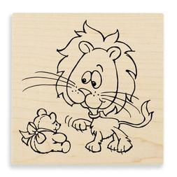 Stampendous Wood Handle Rubber Stamp, Lion Baby Image