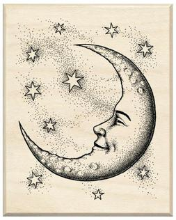 Inkadinkado Wood Mounted Rubber Stamp CC-Crescent Moon