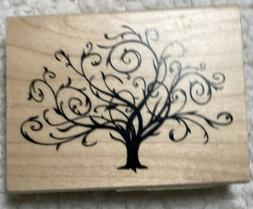 Inkadinkado Wood Mounted Rubber Stamp DD-Flourished Fall Tre