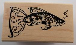 Inkadinkado Wood Mounted Rubber Stamp K, Fancy Fish