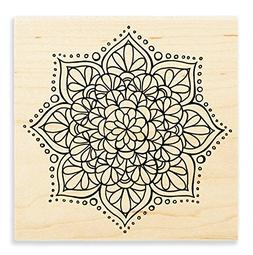 STAMPENDOUS Wood Rubber Stamp Mandala Flower