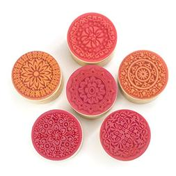 ItAll Wood Rubber Stamp Set of 6 with Floral Flower Pattern