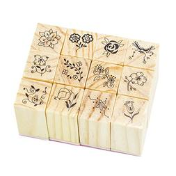Wood Rubber Stamps Set 12 Pcs with Square Lace Pattern for D