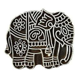 Wood Stamps Elephant Brown Handcarved Printing Block Textile