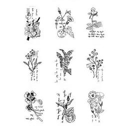 Wooden Rubber Stamp Floral Plants Decoration Scrapbooking Pa