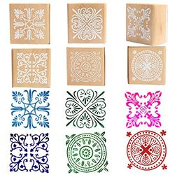 Wooden Rubber Stamp Square Floral Pattern For DIY Craft Card