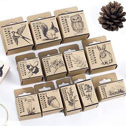 12pcs Wooden Rubber Stamps Animals and Plants Patterns Stamp