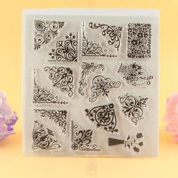 YLCS045 lace corners Silicone clear <font><b>stamps</b></fon
