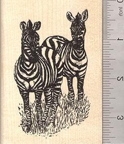 Zebra Pair Rubber Stamp, African Wildlife